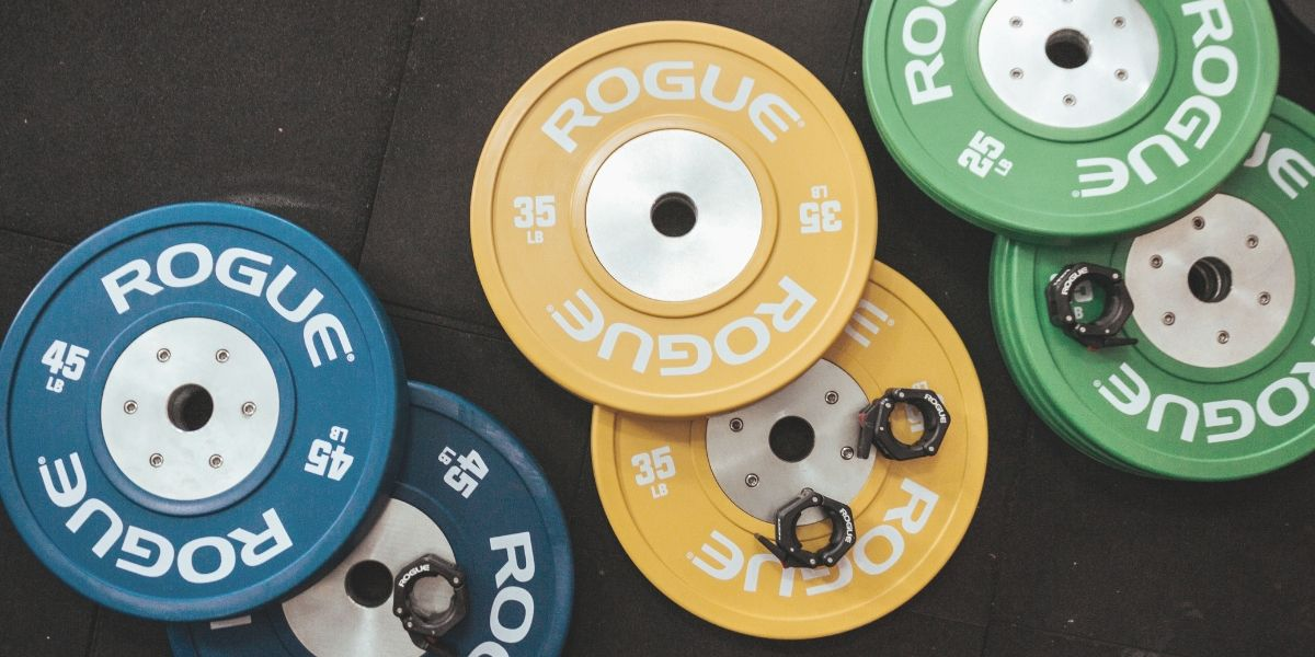 """New Ethos 205 lb Olympic Rubber Bumper Weight Plate Set 2/"""" NJ Pickup"""