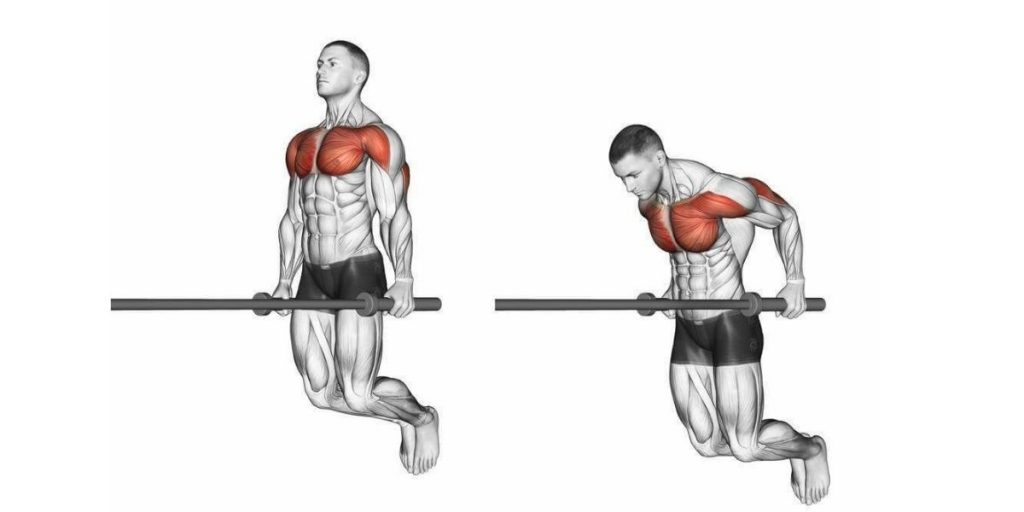 chest dip exercise instruction